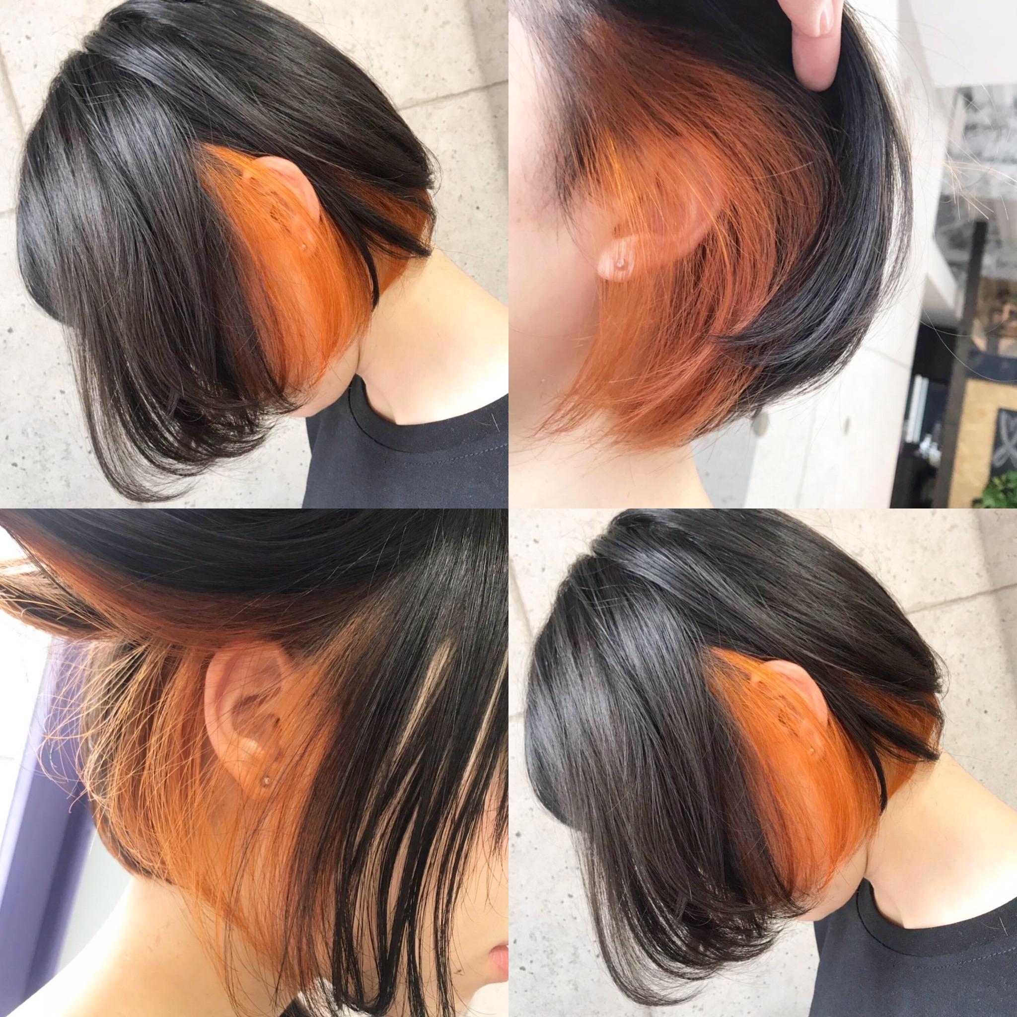 インナーカラーオレンジ×ボブ