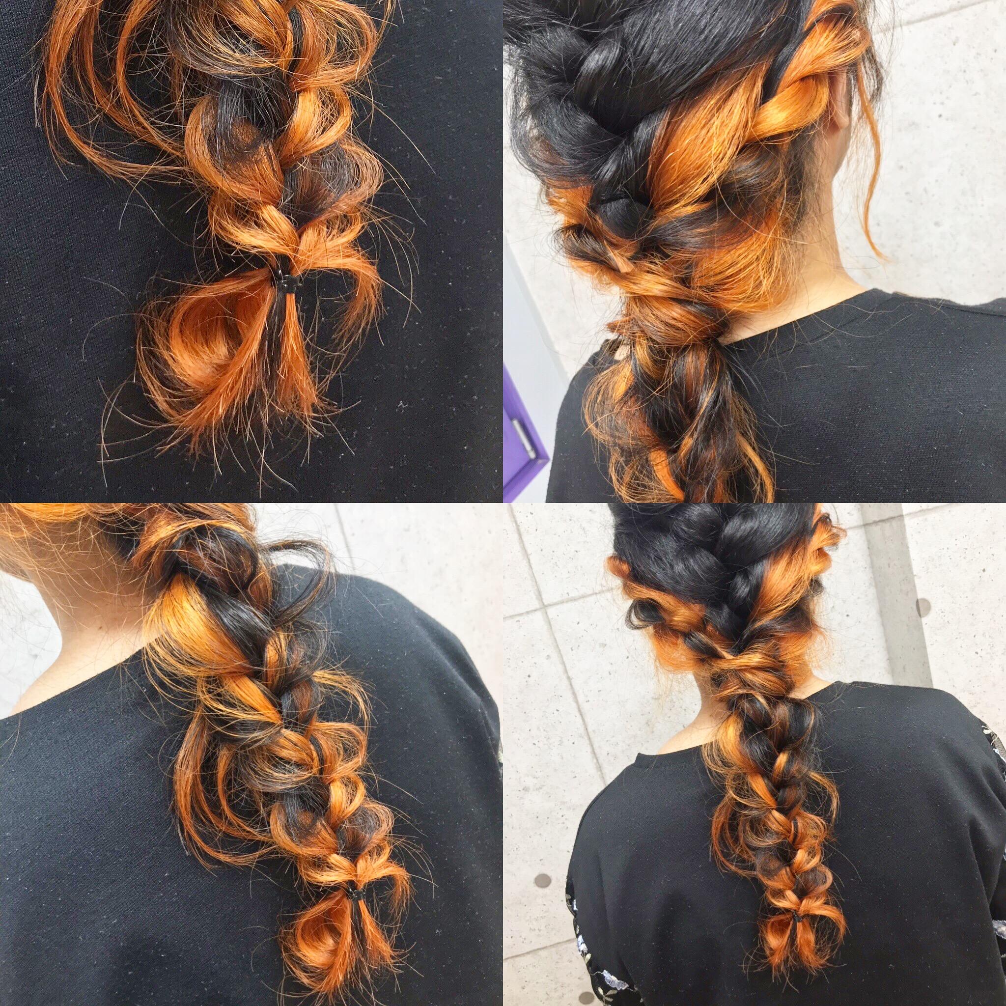 インナーカラーオレンジ×編み込みアレンジ