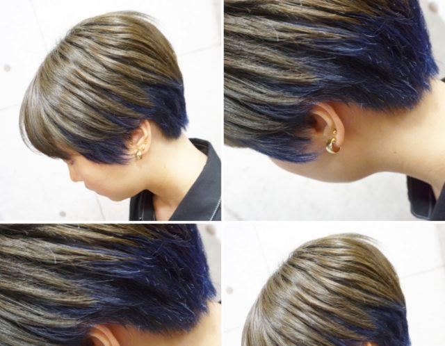 【Bf→Af】ショートヘアのインナーカラーブルー