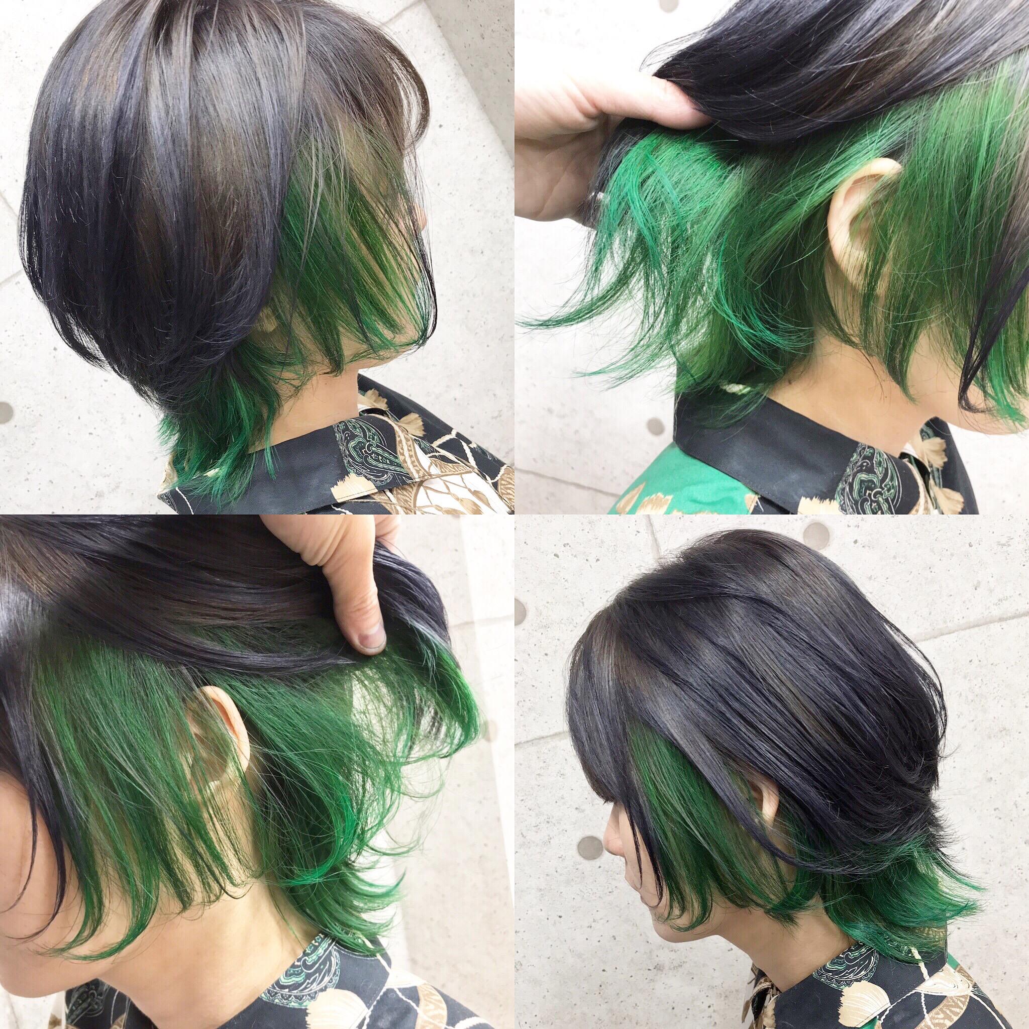 インナーカラー緑×ショートウルフ